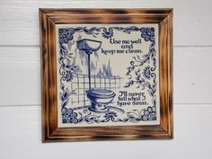 "Bathroom Decor ""Use me well and keep me clean.."" Humorous Funny Art Wood Carving, Mixed Media 8 x 8 Bathroom Humor, Wall Decor, Home Decor"