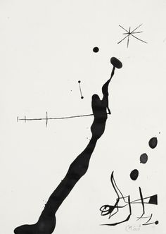 Joan Miró (1893-1983), Femme et Oiseau Dans La Nuit II, 1971-1972. Brush and ink on paper.