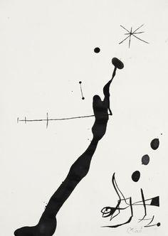 Joan Miró (1893-1983), Femme et Oiseau Dans La Nuit II, 1971-1972. Brush and ink on paper.