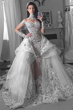 Glamorous Long Sleeves rhinestone mermaid Wedding Dresses with Detachable train Dubai High Neck Bride Dresses Overskirt tiered bridal gowns – Wedding Dresses Wedding Dresses Under 100, Cheap Wedding Dresses Online, Affordable Wedding Dresses, Perfect Wedding Dress, Bridal Dresses, Wedding Gowns, Lace Wedding, Lace Dresses, Dress Lace
