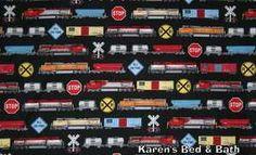 Trains Engine Locomotives Railroad Crossing Signs Black Curtain Valance New | eBay