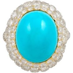 DAVID WEBB Diamond & Cabochon Turquoise Ring
