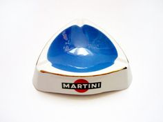 MARTINI Promotional ashtray . Moulin des Loups Orchies faience . France . Vintage 1960s