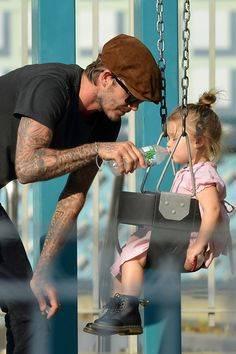 Manchester United Photos: David Beckham seen playing with daughter Harper in a park in Soho in New York City
