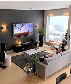 13 Best Modern Living Room Inspirations From a simple living room decor to elaborated lighting and p Simple Living Room Decor, Living Room Tv, Interior Design Living Room, Home And Living, Apartment Living, Small Living Room Ideas With Tv, Cozy Living, Studio Apartment, Lights For Living Room
