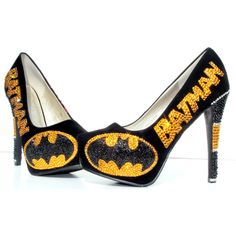 Batman vs Joker Heels With Swarovski Crystals and Glitter ($200) ❤ liked on Polyvore featuring shoes, pumps, gold shoes, dressy shoes, polish shoes, comic book e gold pumps
