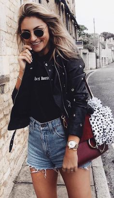 what to wear with a denim shorts : top + black bomber + bag