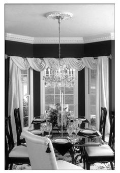 Black Dining Room Curtains New Design Tip Of the Week 8 3 09 Curtain Call Dining Room Curtains, Dining Room Windows, Curtains And Draperies, Bay Windows, Valances, Black Curtains, Kitchen Windows, Bedroom Curtains, Bedroom Windows