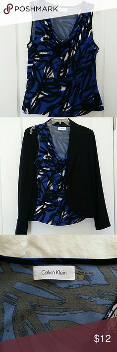 """Calvin Klein Top Solfly draped neckline. Sleeveless;  23"""" long from shoulder. Slightly fitted. 95% Polyester 5% Spandex. Machine wash. (Jacket sold separately or bundle) Calvin Klein Tops Blouses"""