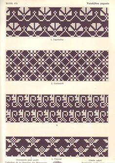 Latvian ornaments & charts - Monika Romanoff - Picasa Web Albums of Knitting Charts, Knitting Stitches, Knitting Designs, Knitting Patterns, Motif Fair Isle, Fair Isle Chart, Fair Isles, Cross Stitch Borders, Mittens Pattern