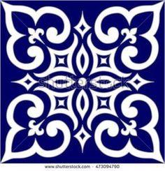 Geometric Islamic Pattern Arabesque blue and white.