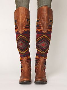 Freebird by Steve Madden Aztec print boots knee brown leather