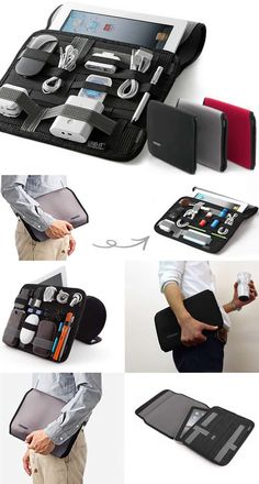 Multi Purpose iPad Sleeve Bag Case Universal Cable Cord Travel Organizer