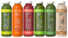 3-Day Cleanse: GLOW, FUEL, PURIFY, FIJI, GREEN SUPREME, VANILLA CLOUD* - This 3 day juice cleanse is designed for those who wish to ease into their cleansing experience. This gentle plan is the perfect balance of detoxification and sustenance.  Suja juice is the freshest, most nutrient-dense beverage on the market. Cold-pressed through the pressure of a hydraulic press, maximum amounts of vitamins, minerals, enzymes, and other vital elements of the plants are preserved. @Kimberlee Shaffer