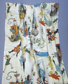 Vintage  PETER PAN Curtain Printed Panel 1950s barkcloth cotton   45 x 24 Great Condition. $44.99, via Etsy.
