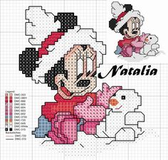 Baby Minnie making snowman Xmas Cross Stitch, Cross Stitch Baby, Cross Stitch Charts, Cross Stitching, Cross Stitch Embroidery, Cross Stitch Patterns, Minnie Baby, Stitch Cartoon, Mickey Y Minnie