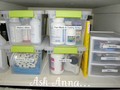 organized medicine cabinet-- this needs to happen. All our stuff is shoved in a big box. Not at all organized.