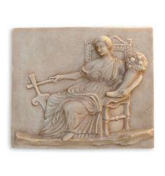 Relieve romano de la diosa Fortuna, la prosperidad y la suerte. Ara votiva. Copia arqueológica de arte romano. Idóneo para regalos originales con cultura.