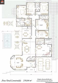 Casa 2 Quartos - 250.04m² Autocad, Small Modern House Plans, Villa Plan, Classic House Design, Architectural House Plans, Monster House, Welcome To My House, House Blueprints, Architecture Plan