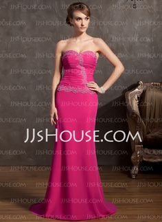 Evening Dresses - $136.99 - Sheath Sweetheart Sweep Train Chiffon Evening Dress With Ruffle Lace Beading (017014848) http://jjshouse.com/Sheath-Sweetheart-Sweep-Train-Chiffon-Evening-Dress-With-Ruffle-Lace-Beading-017014848-g14848