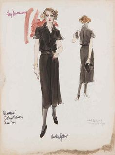 Anthea Sylbert's sketch for Faye Dunaway in Chinatown (1974).