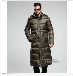16515b89e4c25 Men s Full Length Duck Down Hooded Long Puffer Jacket Coat Warm ... Duck  Down