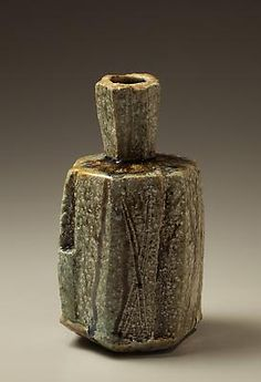 Tamba ash-glazed hexagonal vase with tall neck, 2011  Stoneware with ash glaze  10 5/8 x 5 7/8 in.  Inv# 7652  $ 2,350 Image