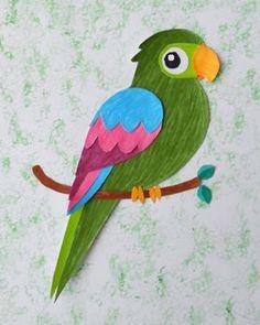 Bricolage perroquet colorié