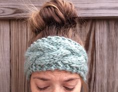 Sea Glass Green Knit Headband by OliveBegonia on Etsy