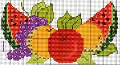 Fresh fruit X-stitch pattern Cross Stitch Fruit, Cross Stitch Kitchen, Cross Stitch Heart, Cross Stitch Flowers, Cross Stitching, Cross Stitch Embroidery, Cross Stitch Designs, Cross Stitch Patterns, Diy Broderie