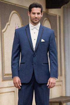 #MensUSA - #MensUSA Men's High Fashion Two Buttons Satin Notch Lapel Wool Modern Slim Fit Slate Blue Suits - AdoreWe.com