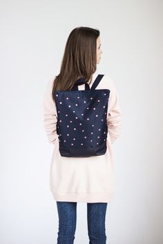 "Perfect gift for sister. This is cute minimalist MUNI backpack with ""Coral polka dot"" design. A great backpack for your everyday needs! – a unique product by Munishop via en.DaWanda.com #blue"