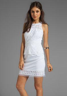 MILLY Laser Cut Mia Peplum Dress in White
