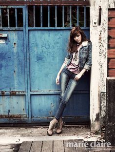 SNSD's Jessica. Rocking out that denim outfit.