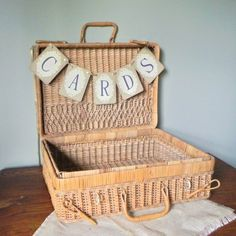 Vintage wicker suitcase picnic basket perfect for wedding cards. That's what I can do with mine! Wedding Card Basket, Gift Card Basket, Wedding Boxes, Wedding Cards, Wedding Ideas, Wedding Baskets, Wedding Fun, Garden Wedding, Rustic Wedding