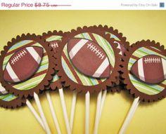 SALE FOOTBALL cupcake toppers- set of 12 - KriskropMemories
