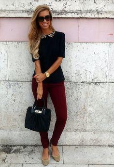 Burgundy's Back!  , Zara in Pants, Zara in Shirt / Blouses, Moschino in Bags, Zara in Flats, Burberry in Glasses / Sunglasses, Massimo Dutti in Watches