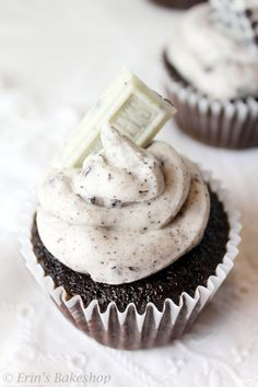 Chocolate Cookies and Cream Cupcakes: Light and fluffy chocolate cupcakes topped with Oreos and cookies 'n' cream icing.