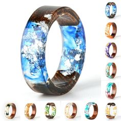 Resin Flowers, Dried Flowers, Gold Foil Paper, Ringe Gold, Party Rings, Resin Ring, Wood Resin, Wood Rings, Fashion Rings