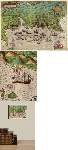 1595 Old World Exploration Vintage Map Poster Sir Francis Drakes Voyages 16x24