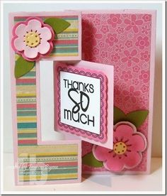 Thanks So Much created by Frances Byrne using Sizzix Square Flip-its Card #2 Framelits; Sizzix Flowers #2 Triplits; Sizzix Leaves Framelits and Sizzix Word Labels Framelits w/stamps