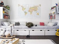 Ikea Stuva used as storage on bottom with seating area above. Would be great in the kids playroom in the basement. Childrens Room Decor, Kids Decor, Childrens Beds, Boy Decor, Alcove Bed, Ideas Habitaciones, Deco Kids, Built In Furniture, Entryway Furniture
