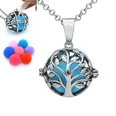 Glow in the Dark Antique Silver Tree of Life Locket Pendant Chain Necklace Aromatherapy Essential Oil Diffuser With Cotton Balls Locket Necklace, Pendant Necklace, Necklaces, Essential Oil Diffuser, Essential Oils, Diffuser Necklace, Antique Silver, Turquoise Necklace, Perfume