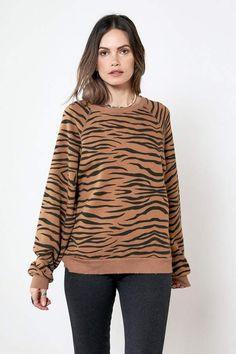26059f38adb327 Rag Doll Ragdoll OVERSIZED SWEATSHIRT Brown Zebra