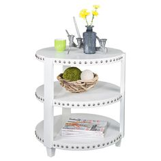 ANTOINE SIDE CART Wood side table in white with 3 tiers and nailhead trim.  Product: Side tableConstruction Material: Wood
