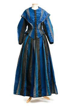 Blue and black striped silk dress, 1850s. Charleston Museum