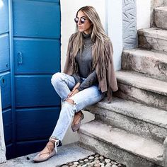 The Outfit // Heathered Grey Turtleneck + Distressed Denim + 70s Fringed Taupe Jacket + Steve Madden Lecrew Flats. #inspiration