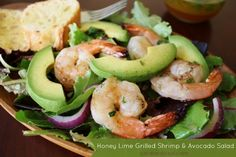 I think I could do this! :) Honey Lime Grilled Shrimp and Avocado Salad by @Sand and Sisal