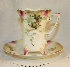 """Antique RS Prussia Chocolate Cup & Saucer * Leaf & Berry"""" with Gold Accent #RSPrussia"""