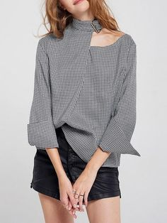 Middle East Plaid One Shoulder Long Sleeve Sexy Shirts look not only special, but also they always show ladies' glamour perfectly and bring surprise. Sexy Shirts, Casual Shirts, Gingham Shirt, Leopard Print Top, Printed Blouse, Printed Cotton, Tie, Discount Designer Clothes, Blouse Online